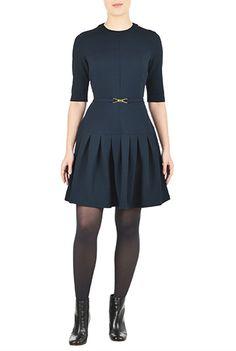 I <3 this Belted drop waist jacquard knit dress from eShakti