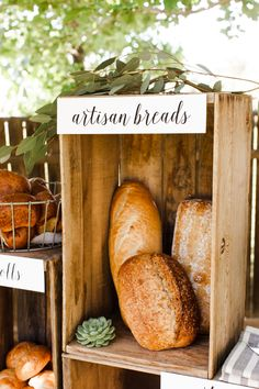 Bread + Butter Station using Wood Crates   Wedding Ideas