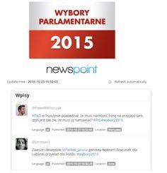 Wybory parlamentarne już w niedzielę. Specjalnie dla Was monitorujemy w czasie rzeczywistym wszystkie tweety na temat wyborów! Wejdźcie i korzystajcie przez cały weekend!  http://app.newspoint.pl/realtime/