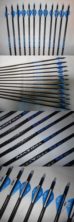 Complete Arrows 181308: 12- Carbon Express Maxima Blu Rz 350 Arrows And Bohning Blazer Vanes! Will Cut! BUY IT NOW ONLY: $149.99