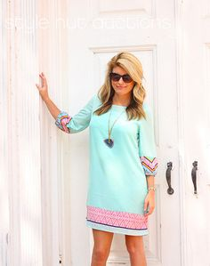3/4 sleeve mint semi-sheer dress with multi color geometric print detail (includes matching liner)