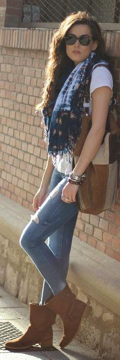 Zara Blue and White Tie Dye Scarf
