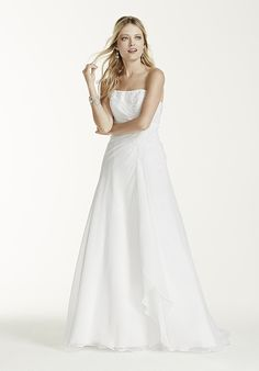 Chiffon A-Line Gown with Lace-Up Back | David's Bridal V9409 | http://trib.al/hPPXotv