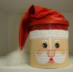 coffee can santa Coffee Can Crafts, Tin Can Crafts, Christmas Projects, Holiday Crafts, Diy And Crafts, Christmas Elf Doll, Kids Christmas, Handmade Christmas, Diy Snow Globe