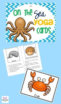 Under the Sea Yoga Cards - Pink Oatmeal Sea Activities, Movement Activities, Gross Motor Activities, Preschool Themes, Underwater Animals, Underwater Theme, Under The Sea Theme, Under The Sea Crafts, High Scope