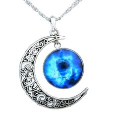 antu Black Blue Women's Crescent Moon Galactic Universe Cabochon Pendant Necklace Christmas Gift: Jewelry