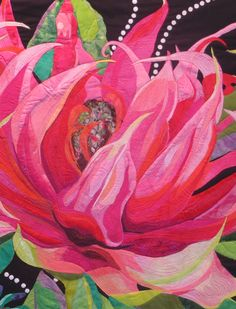 Waratah 2014 detail by Melinda Bula   art quilt