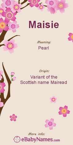 "Meaning of Maisie: Maisie is traditionally a nickname for the Scottish name Mairead, a variant of Margaret, but is used as a given name with some popularity in the UK and can work as nickname for most names beginning with ""Ma"""