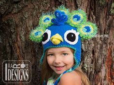 Crochet Pattern PDF for making a Colorful Pavo the Peacock Animal Hat with Feathers for boys and girls of all sizes