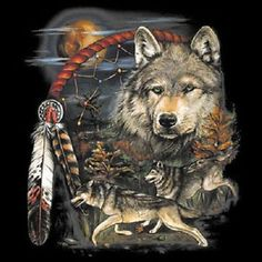 Native American Wolves Dream Catcher Indian Wolf T Shirt Tee Sizes ...