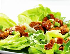 Thai Lettuce Wraps with Peanut Sauce - Easy to prepare and kids enjoy it!