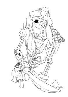 Robot Pirate - lineArt by Nowakk.deviantart.com on @deviantART