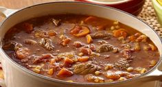 Ingredients    Serves: Makes 8 servings.  1 pound beef stew meat, trimmed and cut into 3/4-inch cubes  1 can (14 1/2 ounces) diced tomatoes, , undrained  1 cup sliced carrots  1 cup frozen cut green beans  1/2 cup chopped onion  1 package McCormick®