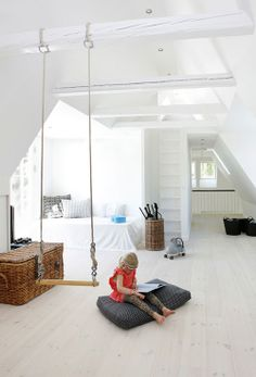 Creating a Stylish Kids Playroom - The Interior Collective Attic Spaces, Kid Spaces, Attic Rooms, Attic Bathroom, Attic Apartment, My New Room, My Room, Swing Indoor, Indoor Play