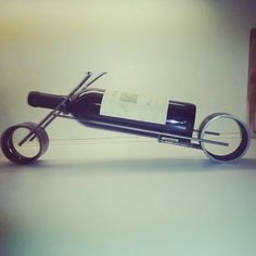 Handmade metal sculpture wine bottle holder motorcycle