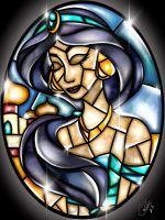 Stained Glass Jasmine by CallieClara on DeviantArt Disney Stained Glass, Stained Glass Christmas, Faux Stained Glass, Stained Glass Patterns, Disney Pixar, Disney Fan Art, Disney And Dreamworks, Disney Animation, Deviant Art