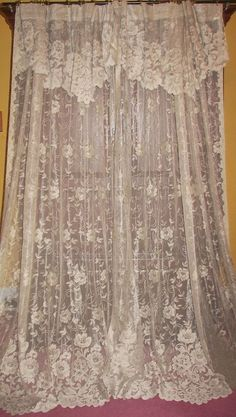Vtg Custom Victorian French Country Blue Floral Patio Door Drapes ...