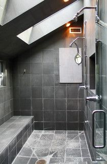 My Houzz: Rockstar vibe meets New England dream home - contemporary - bathroom - burlington - by Laura Garner  Love tiles but darker grout and more lighting!