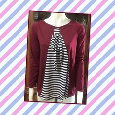 New Long Sleeves Shirt Burgundy with  black and white stripes front umbrella bottom new in the bag and tag on the bag Tops