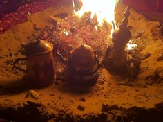 Fire Arabic coffee and tea in the quiet desert night