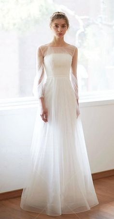 Boat Neck Wedding Dress, Illusion Neckline Wedding Dress, Outdoor Wedding Dress, Sheer Wedding Dress, Wedding Dress Necklines, Lace Wedding Dress With Sleeves, Illusion Dress, Country Wedding Dresses, Long Sleeve Wedding