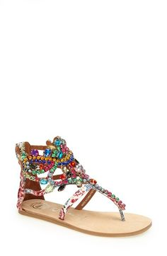 Jeffrey Campbell 'Prizzy' Sandal ... A Mardi Gras mix of crystals plays up the color of a sparkling statement sandal.