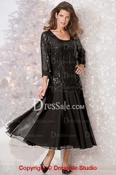 Two pieces gown. The upper one is full of shinning sequins. Scoop neckline is modest and homecoming. 3/4 length sleeves is suit for fall. The fluffy skirt is made of black chiffon which naturally flows down to above ankles.