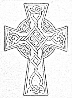 Celtic Cross Free Tattoo Stencil - Free Tattoo Designs For Men - Customized Celtic Cross Tattoos - Free Celtic Cross Tattoos - Free Printable Celtic Cross Tattoo Stencils - Free Printable Celtic Cross Tattoo Designs Celtic Patterns, Cross Patterns, Celtic Designs, Cross Designs, Embroidery Patterns, Cross Coloring Page, Colouring Pages, Coloring Books, Celtic Symbols