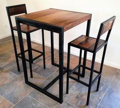 Tabouret de bar Factory : tabouret haut avec dossier ou chaise haute acier et bois MATHI DESIGN                                                                                                                                                                                 Plus