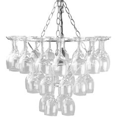 I'm not drinking from my wine glasses anymore; might as well use them to create a chandelier!