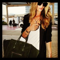 Rosie Huntington Whiteley with a beautiful Celine luggage tote X