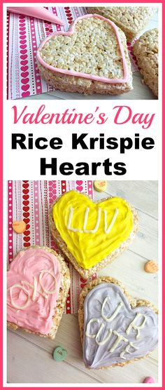 Valentine's Day Rice Krispie Hearts- If you like the cute messages on conversation heart candy, then you should make these big Valentine's Day Rice Krispie Hearts! They're so easy to make! | recipe, homemade Rice Krispie treat, homemade crispy rice treat, Valentine's dessert, heart-shaped dessert, homemade sweethearts candy