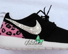 SALE !! Blinged Black & White Girls' / Women's Nike Cheetah Print  Heel Roshe Run w/ Swarovski Crystals