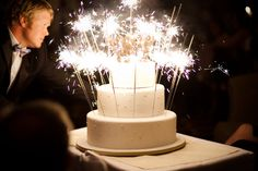 Sparkler cake. Knowing me, I would burn my face off, but it's so pretty, it's worth the risk.