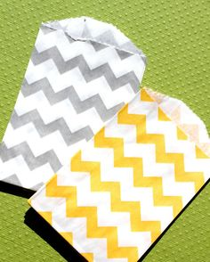 Yellow and Gray Chevron Paper Favor Bags by thebakersconfections. $5.00 USD, via Etsy.