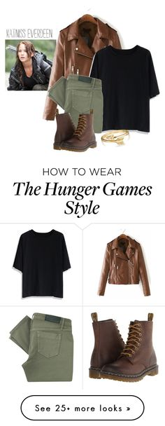 """Katniss Everdeen/The Hunger Games"" by fashionimagination on Polyvore featuring Chicwish, Victoria Beckham, Dr. Martens and Bling Jewelry"