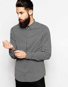 Shop Vito Shirt With Geo Print In Slim Fit at ASOS.