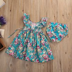 c219c3062863 Girl Summer Dress 2Pcs Kids Infant Baby Girls Ruffle Floral Dress ...