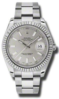 Rolex Watches - Datejust II 41mm - Steel and Gold White Gold - Fluted Bezel - Style No: 116334 sio