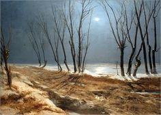 Carl Blechen - Route de campagne en hiver au clair de lune, 1829
