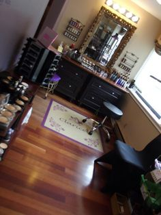 The makeup room at my shop.  Note the floor: had a wall decal made at zazzle