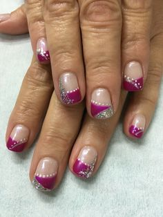 Funky Fuchsia Silver Glitter Polka Dot French gel nails