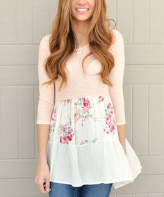 Another great find on #zulily! Bella Mikol Designs Pink & Ivory Floral Tiered Scoop Neck Tunic by Bella Mikol Designs #zulilyfinds