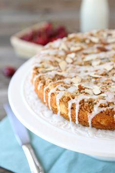Cherry Almond Cake Recipe on twopeasandtheirpod.com Great for breakfast or dessert! #cake #cherry
