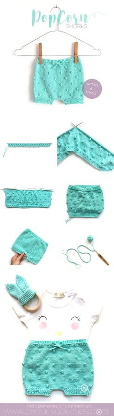 Pantaloncito de punto popcorn – Tutorial  y patrón Baby Pants Pattern, Garter Stitch, Knit Baby Shoes, Knitted Baby Clothes, Baby Knits, Baby Knitting Patterns, Crochet Patterns, Layette, Tricot Baby