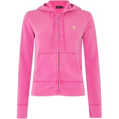 Polo Ralph Lauren Martine zip up hooded top ($165) ❤ liked on Polyvore featuring tops, hoodies, pink, women, cotton hoodies, polo ralph lauren, pink top, zip up hoodies and zip up top