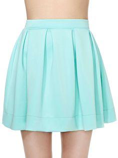 Green Pleated Scuba Skater Skirt 14.67