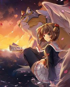 Kero-chan (Cerberus) and Sakura Kinomoto from Cardcaptor Sakura Anime Sakura, Manga Anime, Art Manga, Anime Art Girl, Cardcaptor Sakura, Sakura Kinomoto, Syaoran, Anime Kawaii, Magical Girl