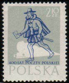 Znaczek: Medieval postman and train (Polska) (400th anniv.Polish Post) Mi:PL 1066,Sn:PL 802,Yt:PL 921D,Pol:PL 921