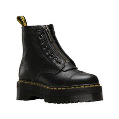 Women's Dr. Martens Sinclair 8-Eye Jungle Boot (795 RON) ❤ liked on Polyvore featuring shoes, boots, casual, leather boots, zipper combat boots, laced boots, dr martens boots, platform boots and army combat boots
